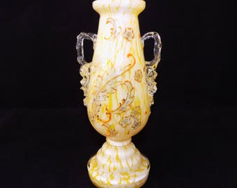 Antique Moser / Welz Bohemian spatter Glass Vase in Yellow / White