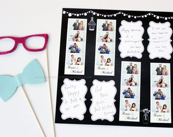 "Photo Booth Album Printed Scrapbook Pages for 2x6 Photo Strips RUSTIC CHALKBOARD Design Double-sided Print 12""X12"" size - 20 SHEETS"