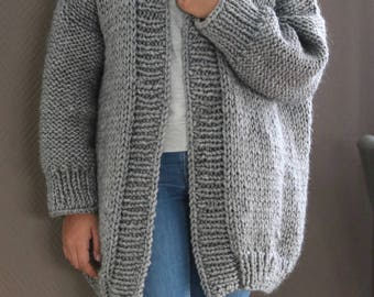 Oversized Chunky Knit Cardigan, Gray Chunky Knit Cardigan, Loose Knit Cardigan, Cozy Knit Sweater, Bernadette Vest, Slouchy Sweater
