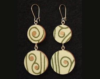 Double-Circle Reversible Floral Handmade Paper Wood Earrings