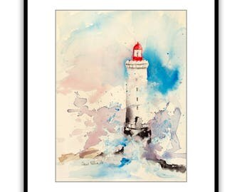 Original watercolor of a lighthouse during a storm with waves - original painting of a lighthouse with big waves on the ocean