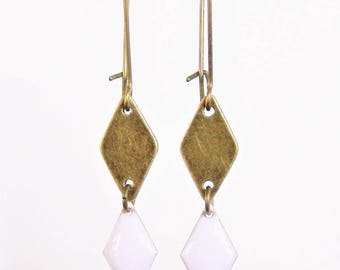 Bronze diamond and white enameled diamond earrings