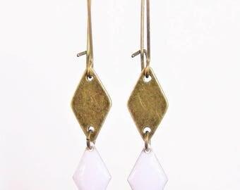 Bronze diamond and white enameled diamond earrings
