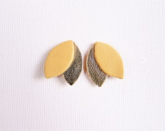 Leather earrings yellow ocher and gold