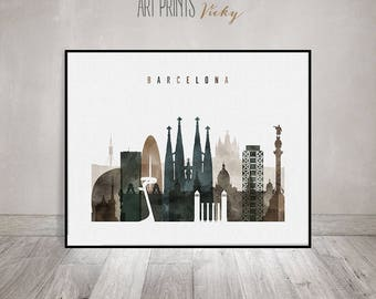 Barcelona print, watercolor poster, Travel, Wall art, Barcelona skyline, city print, Spain cityscape, digital watercolor ArtPrintsVicky