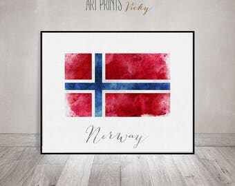 Norway flag print, Norway art poster, watercolor, Wall art, watercolor flag, typography art, office decor, Home Decor, gift, ArtPrintsVicky