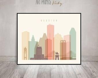 Houston Art Print Pastel Houston City Skyline Poster by ArtPrintsVicky.com