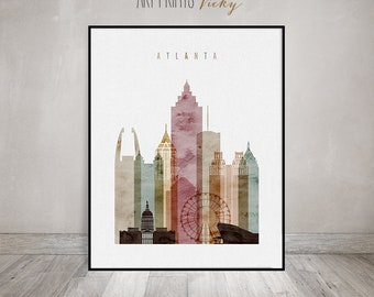 Atlanta art print, Watercolor Poster, Atlanta skyline, Wall art, travel decor, Georgia, City poster, Home Decor Digital Print ArtPrintsVicky