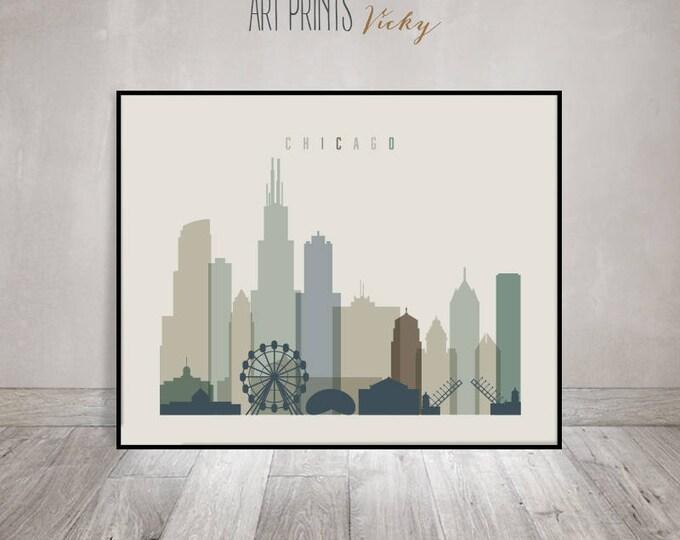 Chicago wall art, Chicago Poster, Chicago skyline print, Illinois, City prints, Travel decor, Gift, Home Decor, ArtPrintsVicky