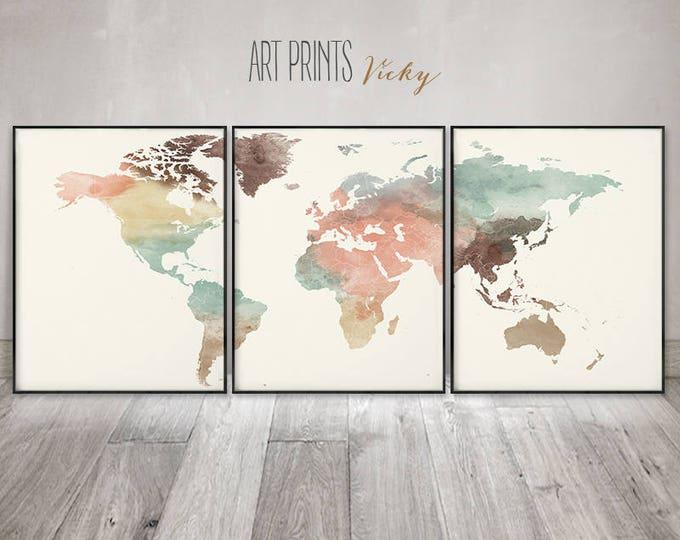 Large wall art, Set of 3 prints, World map watercolour poster, 3 pieces wall art, travel decor, home decor, Gift, ArtPrintsVicky