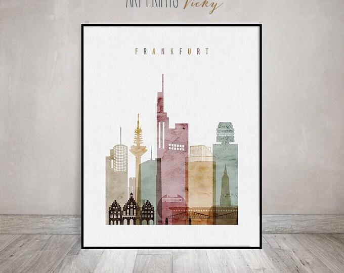 Frankfurt wall art, Frankfurt art print, poster, Frankfurt skyline, watercolor, Wall art, Travel decor, Housewarming gift, ArtPrintsVicky