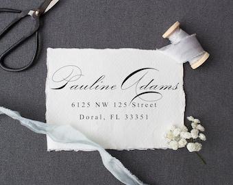 Elegant Address Stamp, Calligraphy Address Stamp, Custom Rubber or Self Inking Stamp, Personalized Rubber or Self Inking Stamp