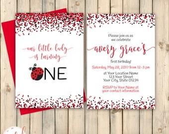 Ladybug First Birthday Invitation, Little Love Bug 1st Birthday Invite, Red Black, Little Lady, February Birthday, Print For Me or Digital