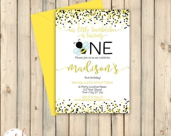Bumble Bee Birthday Invitation, Honey Bee First 1st Bday, Bumblebee, Yellow Black, Little Busy Bee Birthday, Printed Invitation or Digital