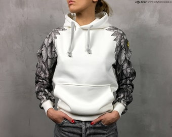 Angel wings womens hoodie cotton hoodie with angel sleeves and feathers graphic hoodie with wings original gift idea gift for her