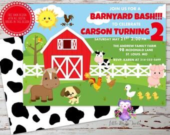 Cute Farm Animal Birthday Invitation, Barnyard Birthday Invitation, Printable Invitation, Custom Invitation, Digital Invitation, Farm Invite