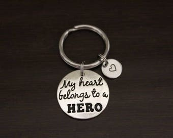My Heart Belongs to a Hero Key Ring/ Keychain / Zipper Pull - Mom Keychain - Dad Keychain-Military Wife Keychain-Deployment Keychain - I/B/H