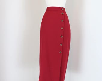 "1960s Skirt - Red Midi Pencil Skirt - Side Button - Mad Men Style - Size 27"" - 29"" Partially Elastic Waist - Size Small Medium - Back Pocket"