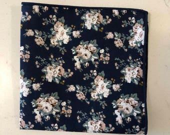 Navy (Black Trim) Floral Pocket Square