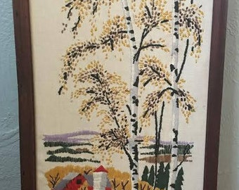 Mid Century Fall Country Side Needlepoint