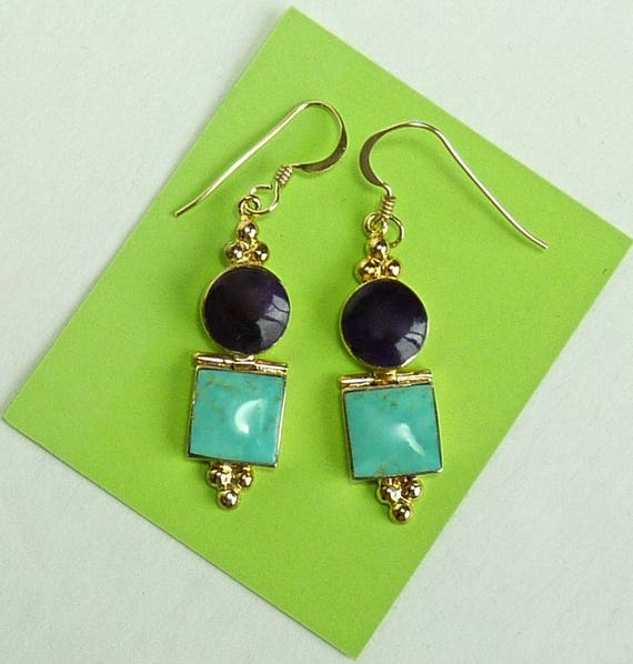 EARRINGS ~ TURQUOISE AMETHYST ~ Sleeping Beauty Turquoise, Amethyst ~ Gold Over Artisan Sterling Silver Earrings ~ Lovely Vintage Earrings