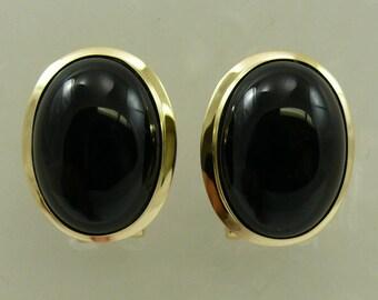 Black Onyx 13.0 MM x 18.0 MM Earring 14k Yellow Gold