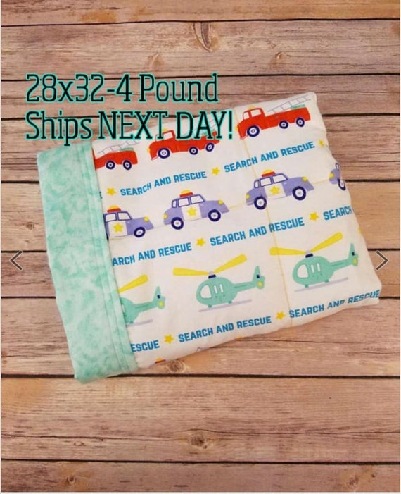 Firetruck, Police, 4 pound, WEIGHTED BLANKET, Ready To Ship, 4 pounds, 28x32 for Autism, Sensory, ADHD