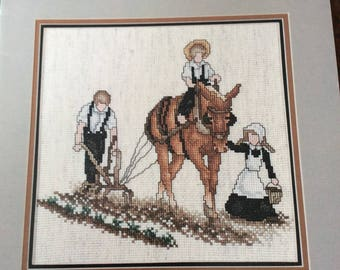 Gentle Unity Counted Cross Stitch Chart Pattern, Stoney Creek Collection 1985 Amish Horse  and Plough