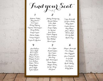 Simple Rustic Chic Seating Arrangements Chart for Wedding or Bridal / Baby Shower! Fully Customized PRINTABLE Any Color Find Your Seat Sign