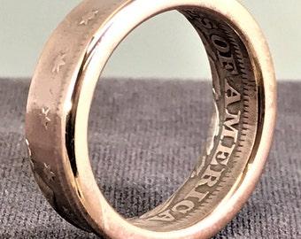 Pre-Civil War 1854 U.S. Braided Hair - Large Cent - Copper Coin Ring