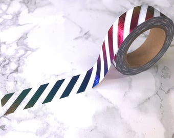 Rainbow Foil Stripe Washi Tape // Decorative Paper Masking Drafter Planner Scrapbooking Tape