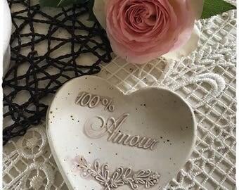 A pretty heart dish ceramic stoneware jewelry holder
