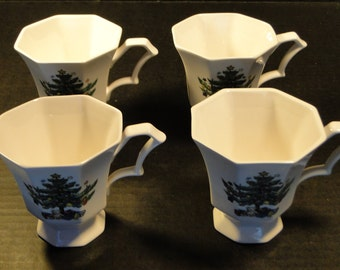 FOUR Nikko Christmastime Footed Tea Cups Set of 4 EXCELLENT!