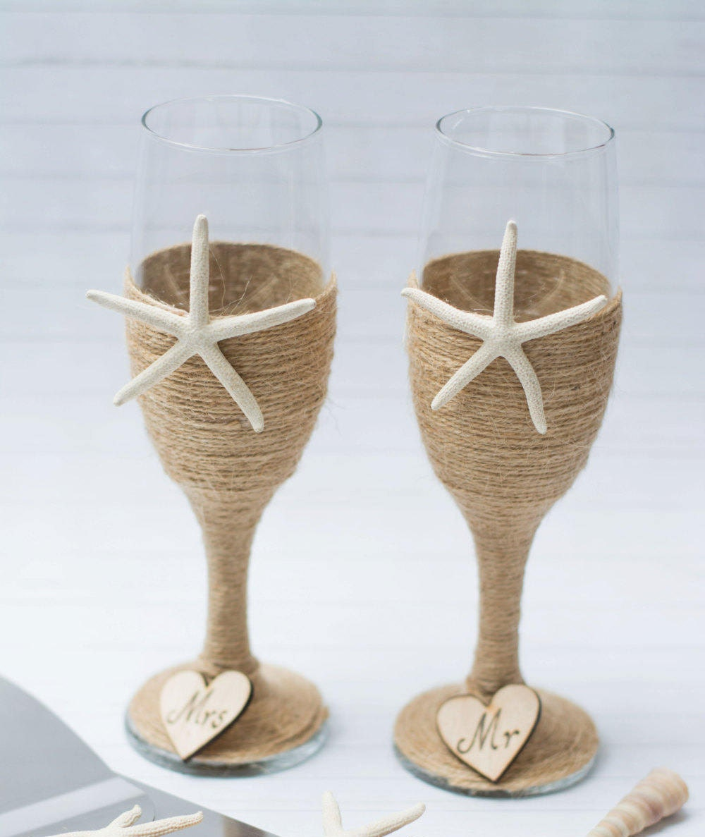Beach Champagne: Beach Wedding Champagne Flutes Glasses Toasting Flutes