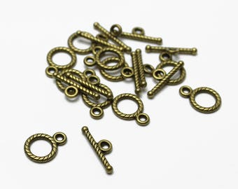 Small Antique Brass Toggle Clasp - 10 Sets