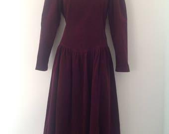 80's dress, Laura Ashley dress, vintage dress, corduroy dress, needlecord dress, cranberry red dress, 80's clothing, back button opening