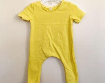Yellow Solid Romper- Short Sleeve | spring romper, harem romper, baby onesie, solid romper