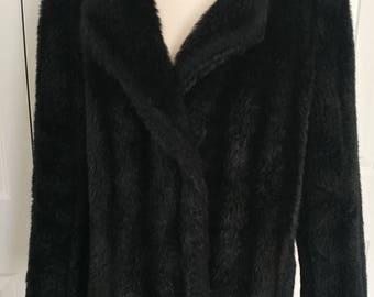 Vintage 80s Black Faux Fur Coat