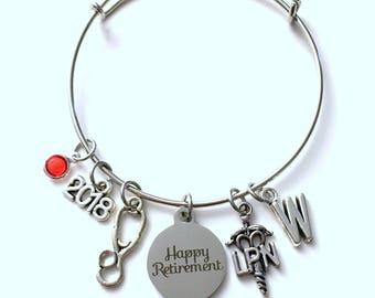 Retirement Gift for LPN Nurse 2018 Women Charm Bracelet Jewelry Silver Bangle Licensed Practical Nursing initial letter Birthstone Present