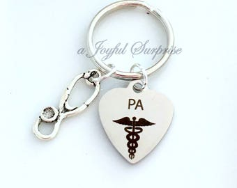 PA Keychain, PA's Keyring, Gift for Physician Assistant Day Gift, Doctor Assistant, Stethoscope Key chain Medical Caduceus Key Chain Jewelry