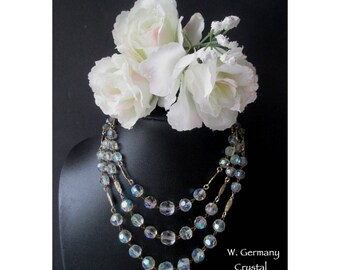 Crystal Necklace * Three Strand Bead Necklace * Vintage West Germany