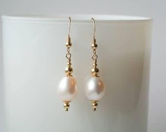Byzantine Gold Freshwater Pearl Drop Earrings - 14K Gold Filled and Ivory White Freshwater Pearl Drop Earrings in a Byzantine Style