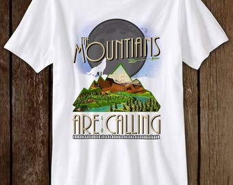 Mountains T-Shirt on White Tees Hiking Climbing Funny Men's Girls Ladies Women's Gift Camping Trail Camp Camping  The Mountains Are Calling