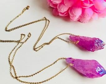 Titanium quartz necklace,Natural stone necklace,natural stone pendant, natural stone, pink, necklace pink stone,long necklace, long necklace