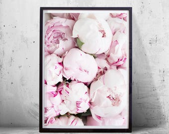 Peonies Print Pink Wall art Flower Floral Peony Rose Minimalist art Fashion Printable art Instant Download Botanical Wall art Boho Decor