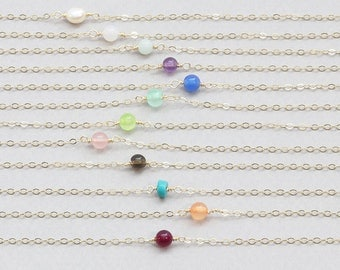 Tiny Gemstone Choker Necklace on sterling silver, 14k gold filled, rose gold filled / Gemstone Bridesmaid Necklace, Gift for her