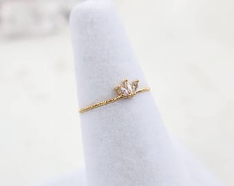 NEW* Crown Ring, 3 Marquise Crystal Ring, Minimalist ring, Crystal ring, stackable ring, Statement ring, stacking ring, dainty ring, thin