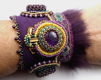 Designer Amethyst Topaz embroidered cuff bracelet, gemstone, Crystal, leather, high fashion