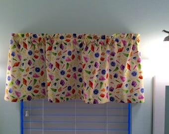 Beach Valance-Lake Valance-Coastal Valance-Tropical Valance-Nautical Valance-Sea Shells Valance-Kitchen Curtains-Beach Curtains-Beach Decor
