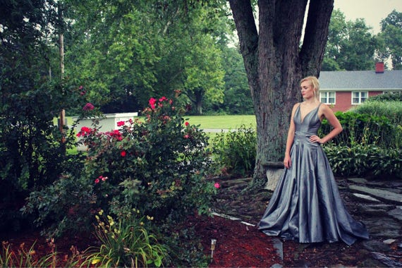 Gray Wedding Dress,  Silver Prom Dress,  Low Cut, Open Back, Full Length Ball Gown,  Bridesmaid Dress,